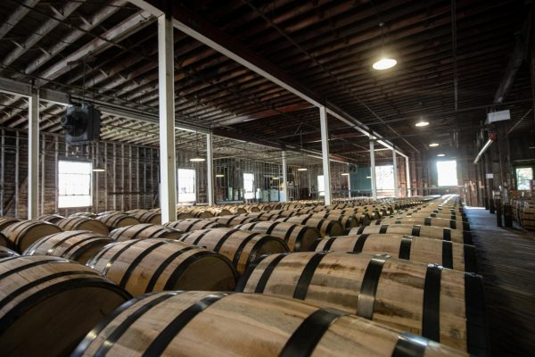 Download Barrels lined up in warehouse