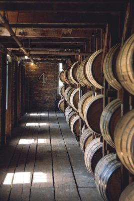 Download Aisle of barrels in a warehouse