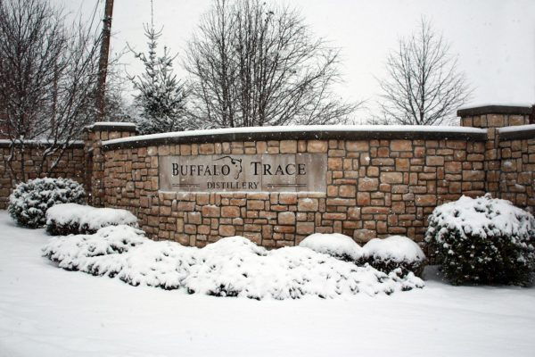 Download Stone wall at entrance to Buffalo Trace Distillery