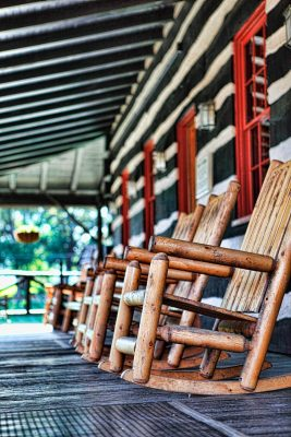Download Porch with rustic chairs at Buffalo Trace Distillery