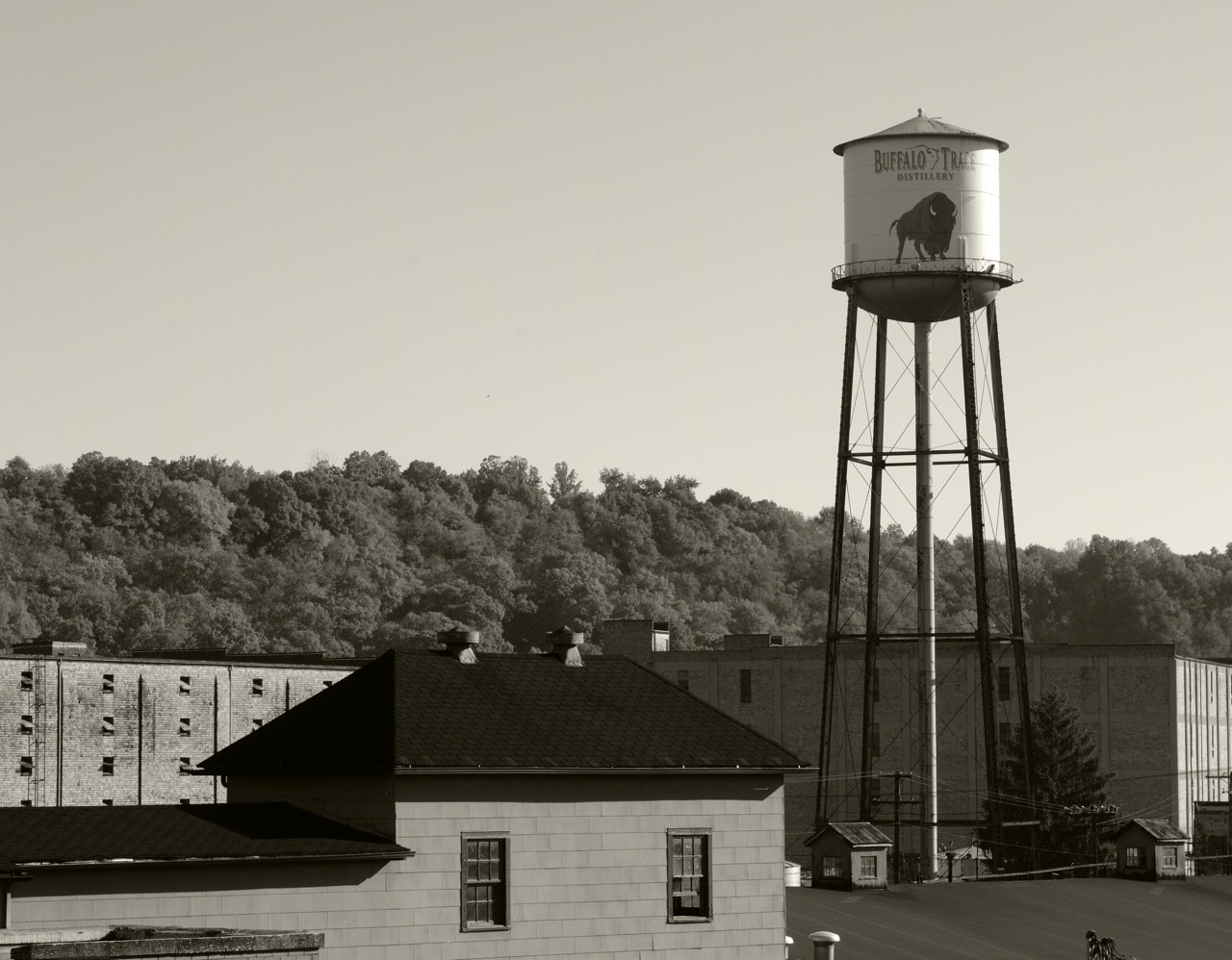 Black and white Buffalo Trace Distillery water tower